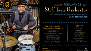 February 28: SCC Jazz Orchestra with special guest John Hollenbeck @ The Nash | Phoenix | Arizona | United States